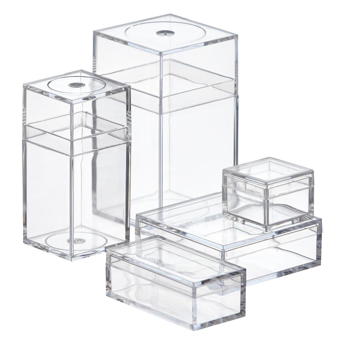Small plastic boxes small clear amac boxes the for Clear bathroom containers