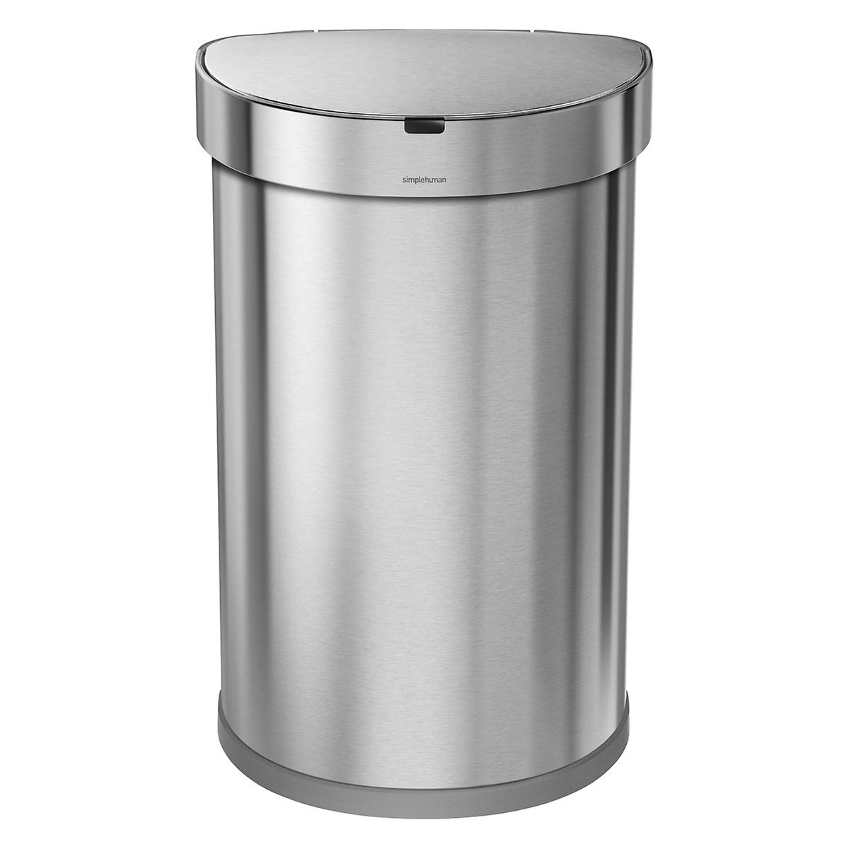 simplehuman Stainless Steel 12 gal. Semi-Round Sensor Trash Can ...