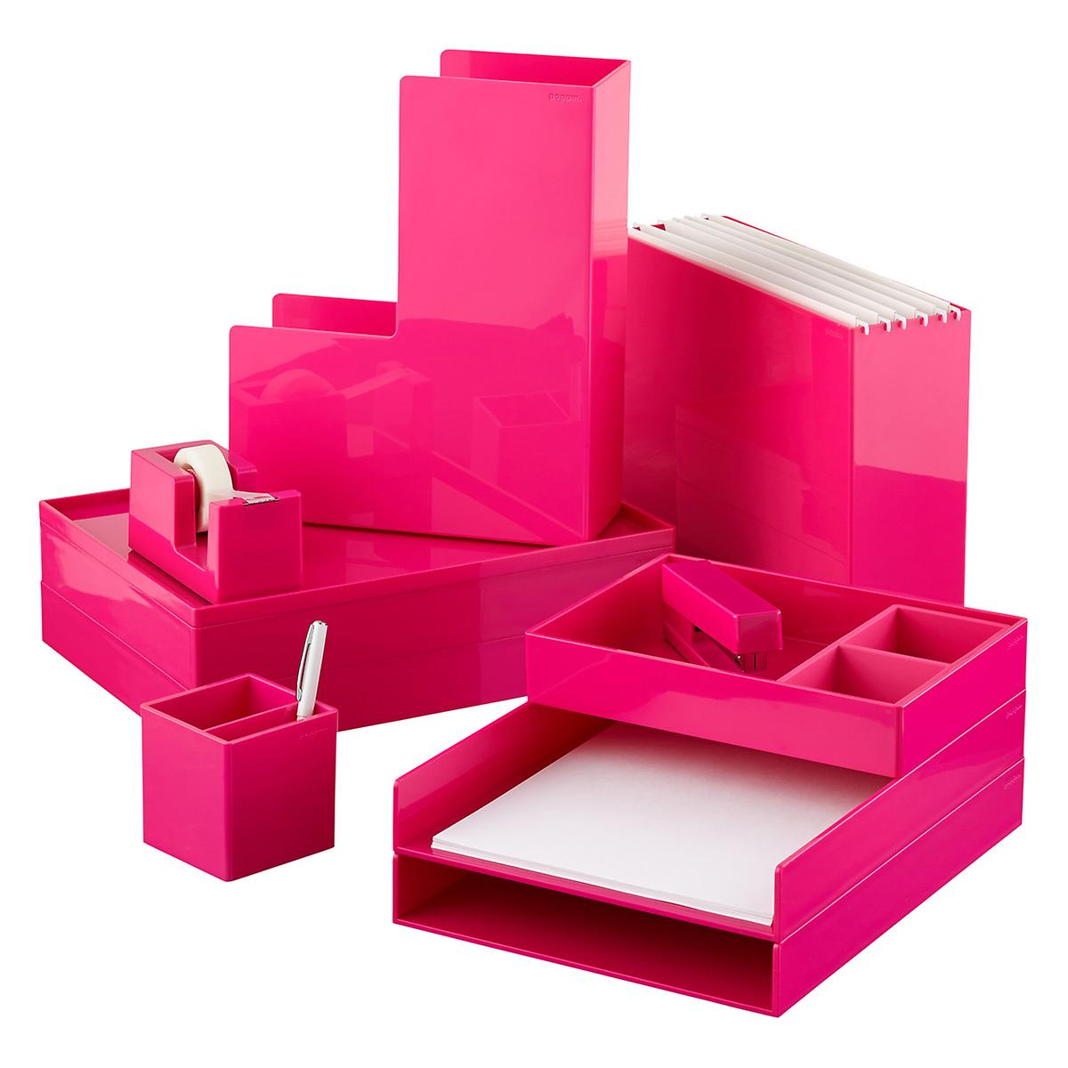 Pink poppin hanging file box the container store for Suspension fille