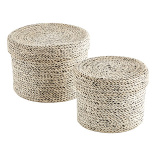 White Round Jute Storage Boxes With Lids The Container Store