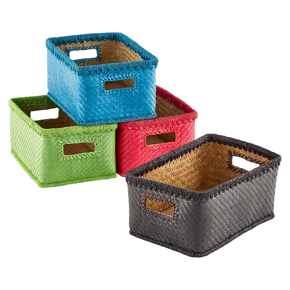 Small Palm Leaf Woven Storage Bins with Handles The Container Store