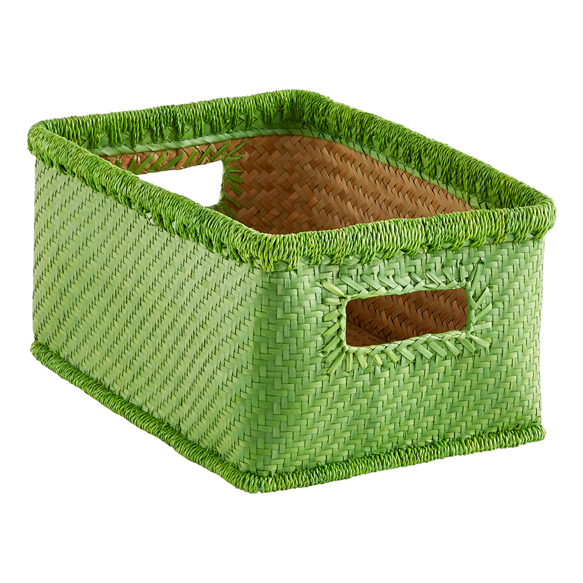 Small Palm Leaf Woven Storage Bins With Handles