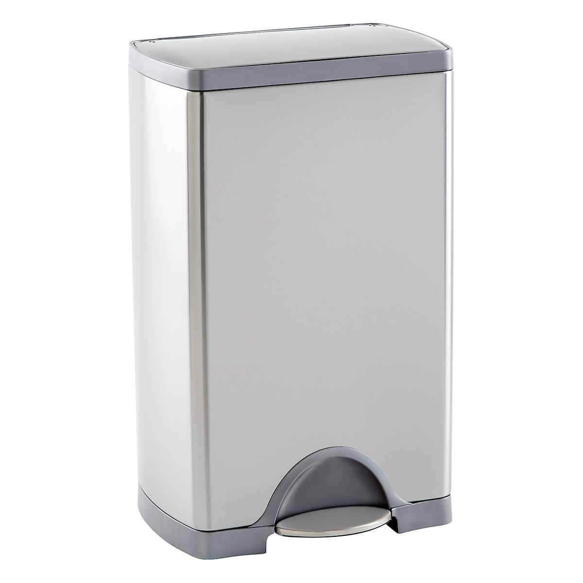 Simplehuman stainless steel 10 gal rectangular step trash can the container store - Rectangular garbage cans ...