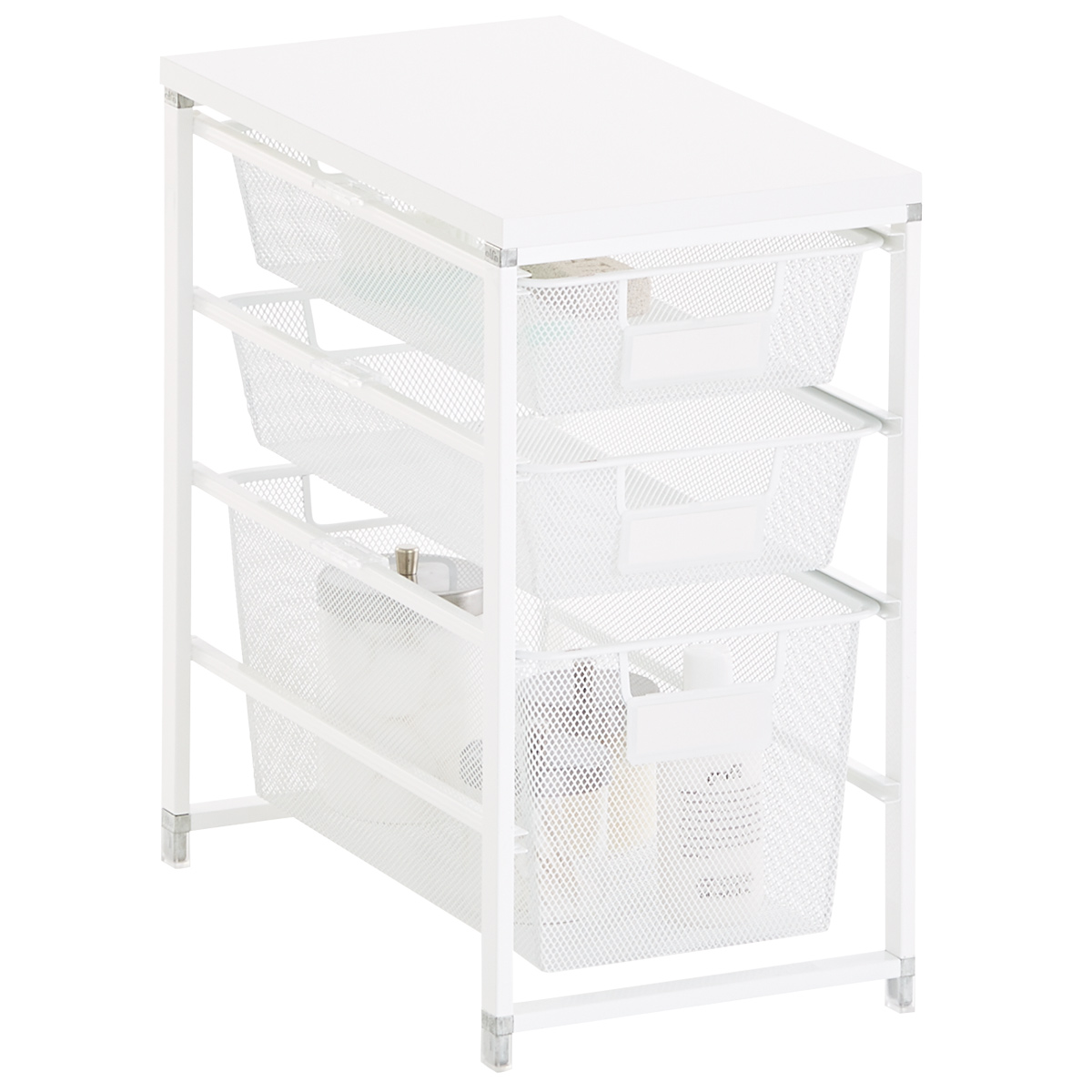 White Cabinet Sized Elfa Mesh Bath Storage