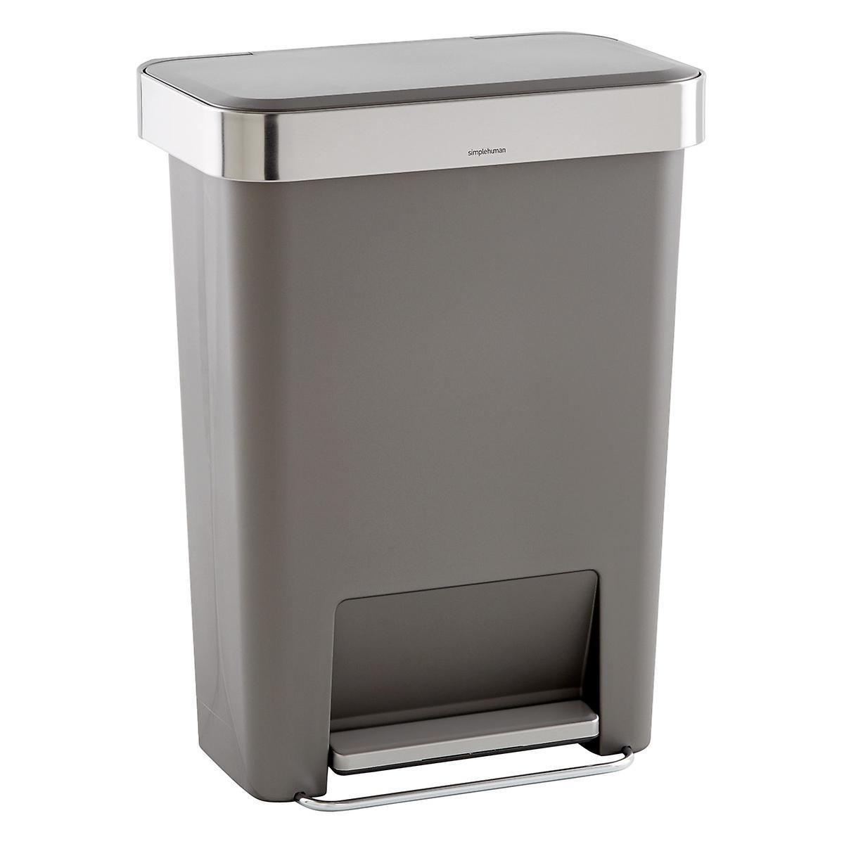 Rectangular Trash Can. simplehuman Grey 12 gal  Rectangular Trash Can with Liner Pocket