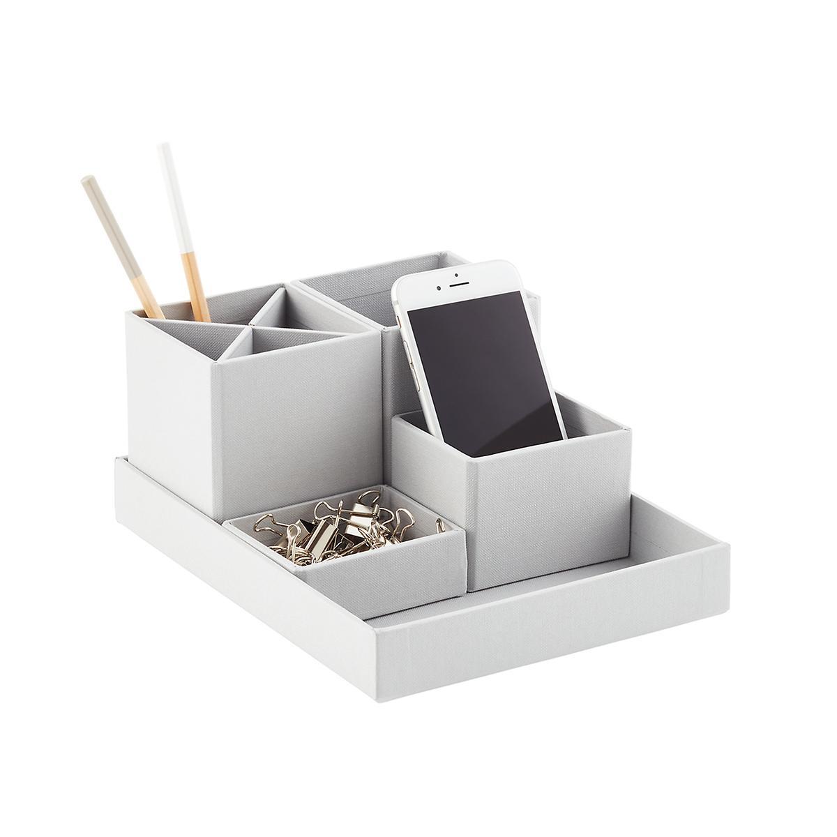 Bigso Light Grey Stockholm Desktop Organizer