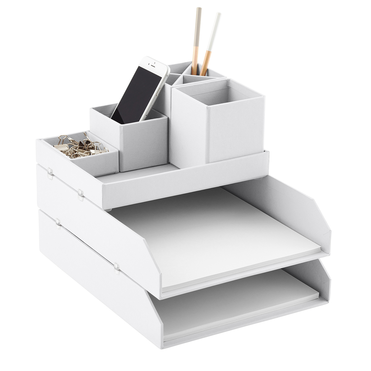 bigso light grey stockholm desktop organizer
