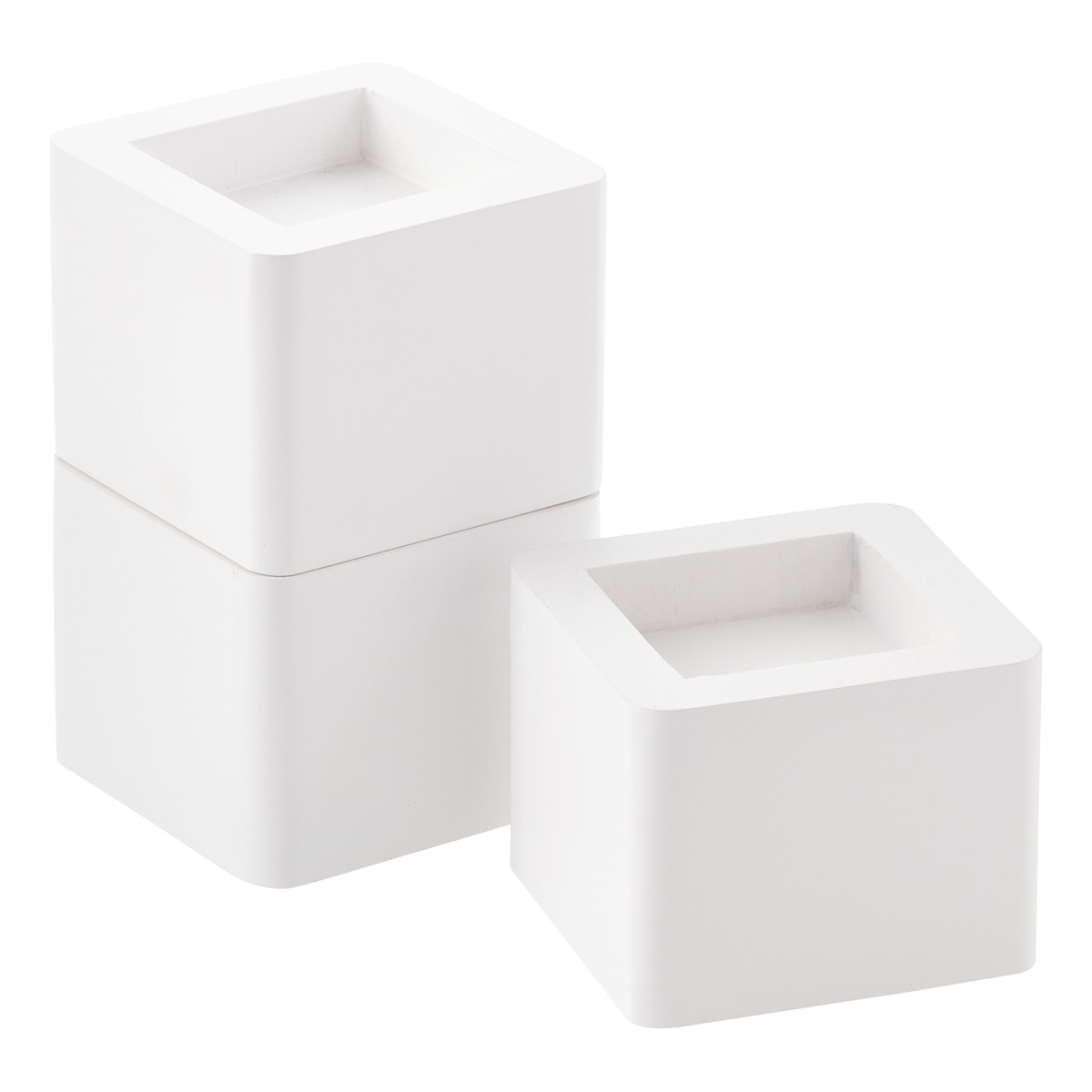 White Solid Wood Bed Risers ...