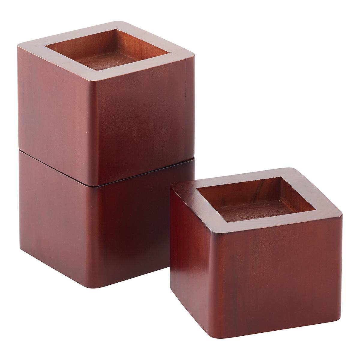 walnut solid wood bed risers | the container store