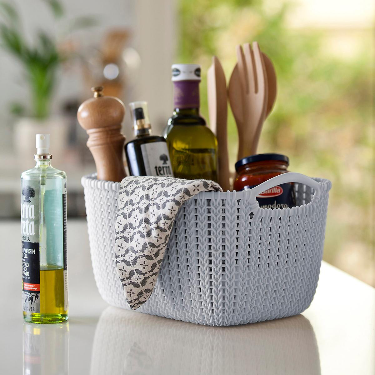 Curver Sand Knit Storage Baskets: Curver Cloudy Grey Knit Storage Baskets