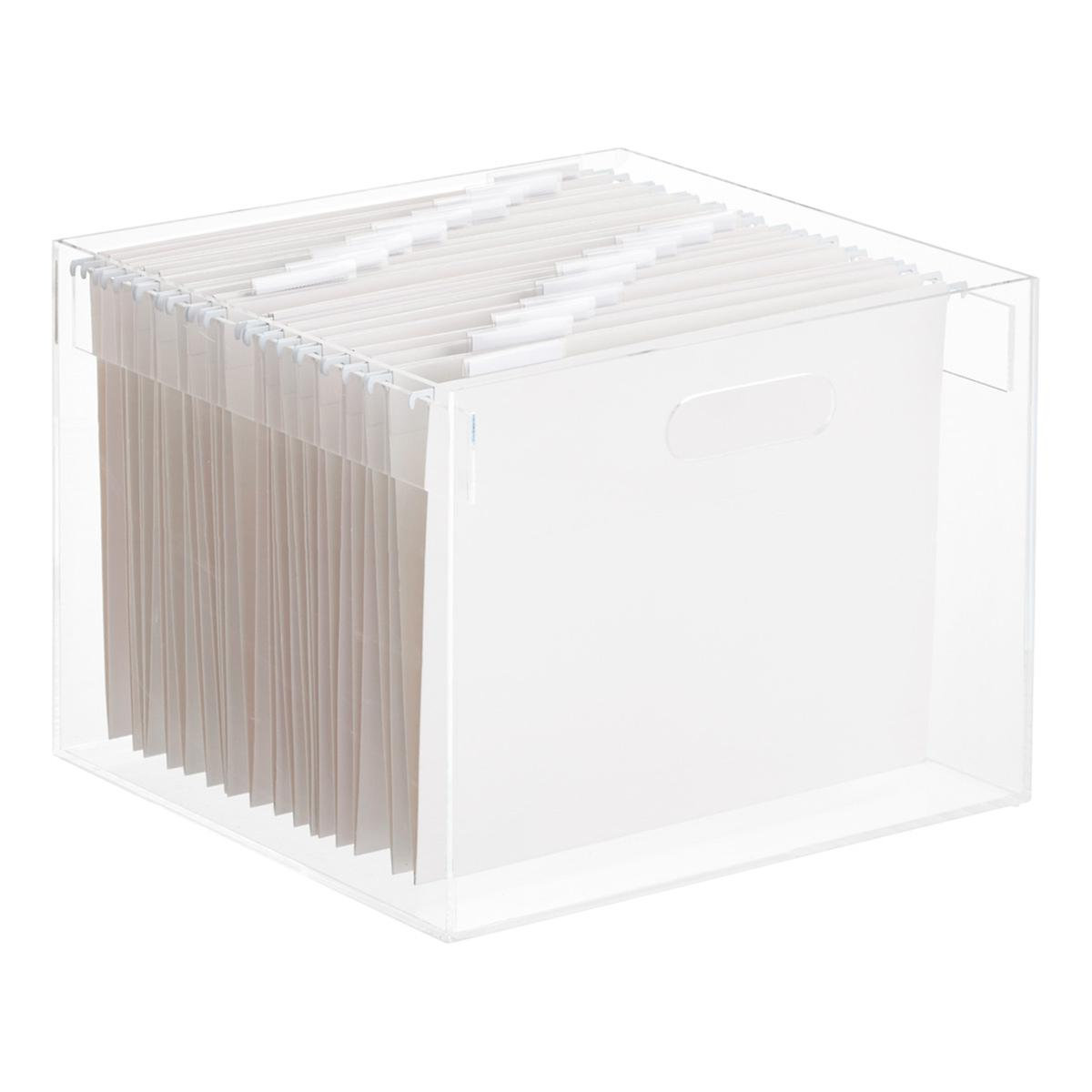 Stacking Acrylic Hanging File Box The Container Store