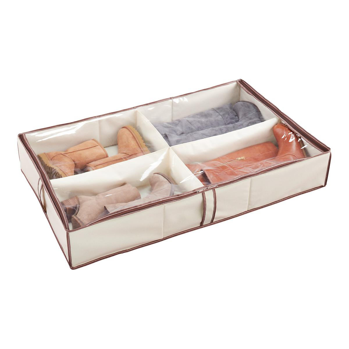 4 Compartment Under Bed Shoe Organizer The Container Store