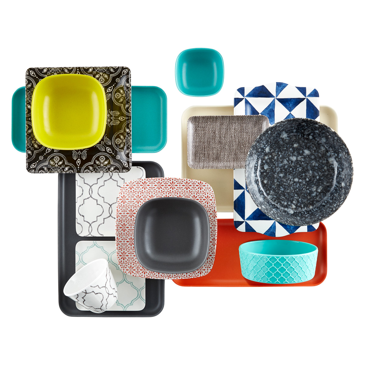 Roll over to zoom  sc 1 st  The Container Store & White u0026 Grey Quatrefoil Melamine Plate | The Container Store