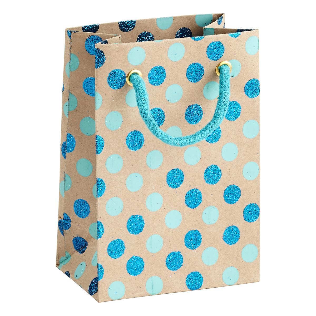Vivid Wrap Small Blue Glitter Dots Recycled Gift Bag   The ...
