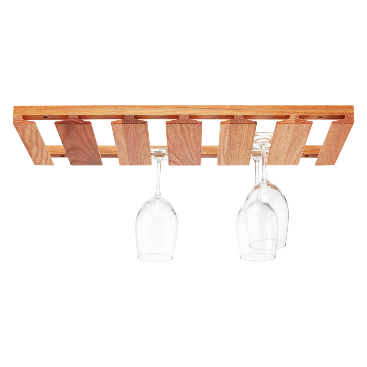 Vintage oak hanging wine glass rack #3