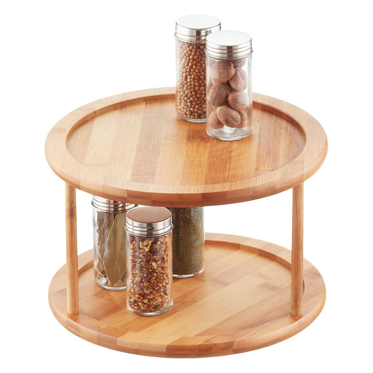 2 Tier Bamboo Lazy Susan The Container Store