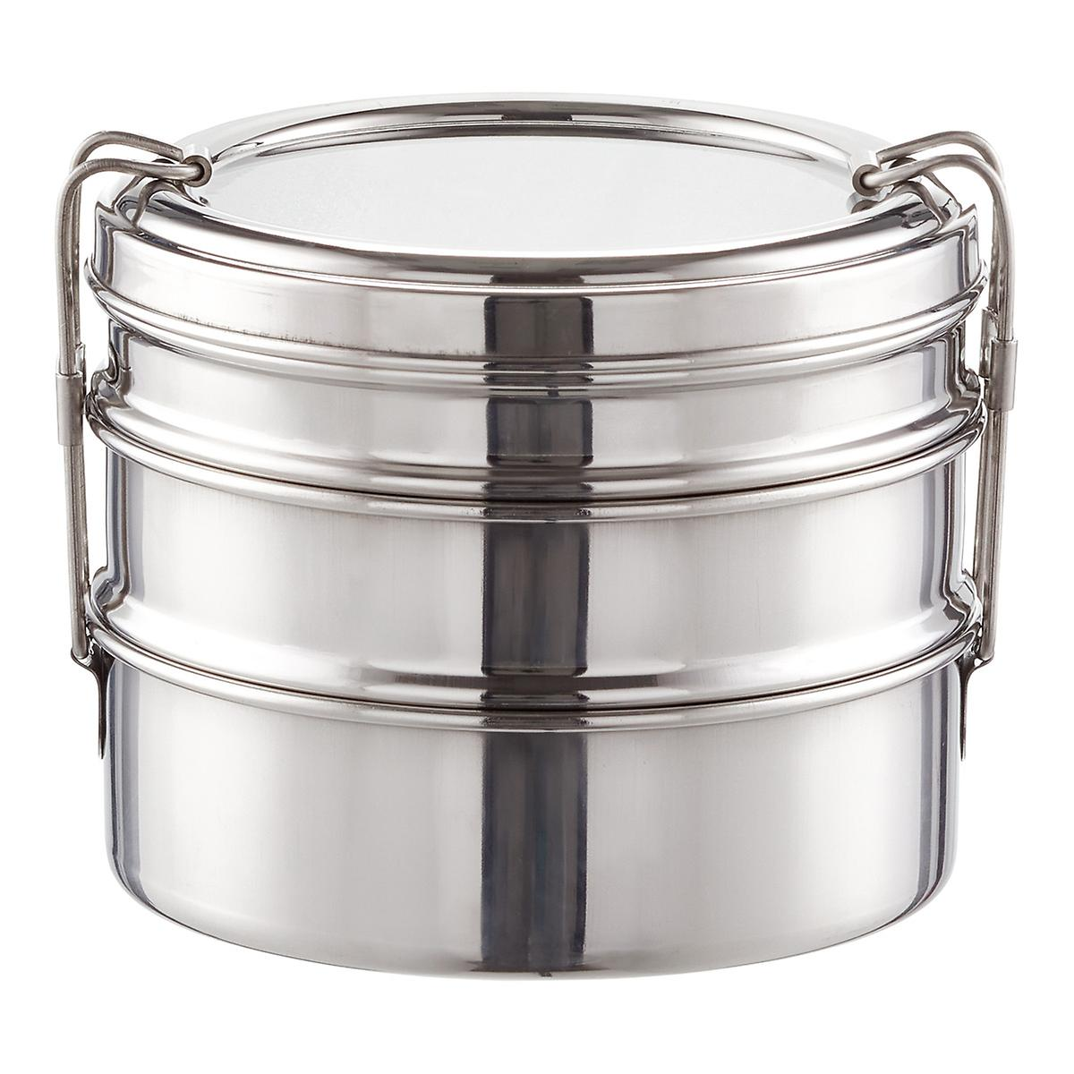 ECOlunchbox Stainless Steel Round 3-in-1 Bento Box | The Container Store