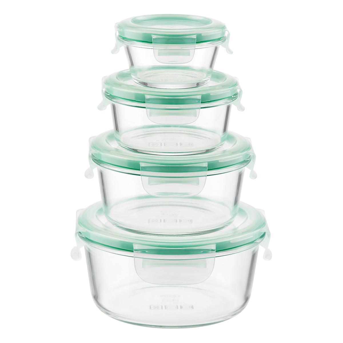 oxo good grips 8 piece smart seal round glass food storage. Black Bedroom Furniture Sets. Home Design Ideas
