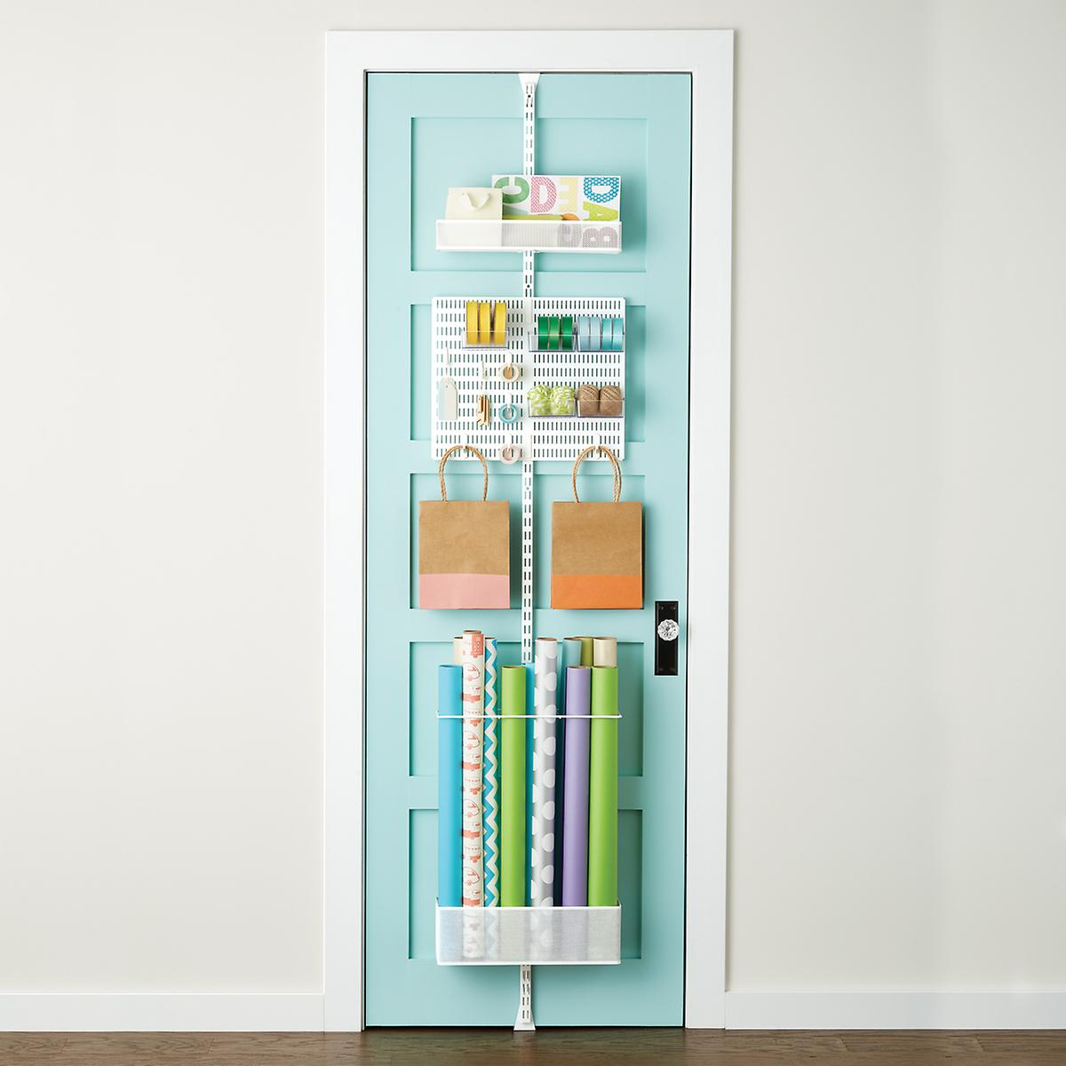 White elfa utility Gift Wrap Door Wall Rack The Container Store