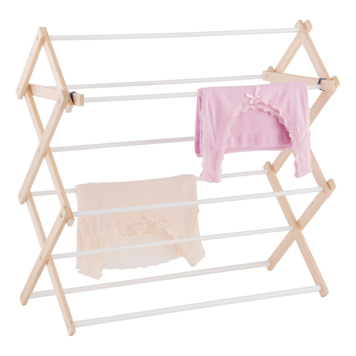 9-Dowel Wooden Wall-Mounted & Floor Clothes Drying Rack ...