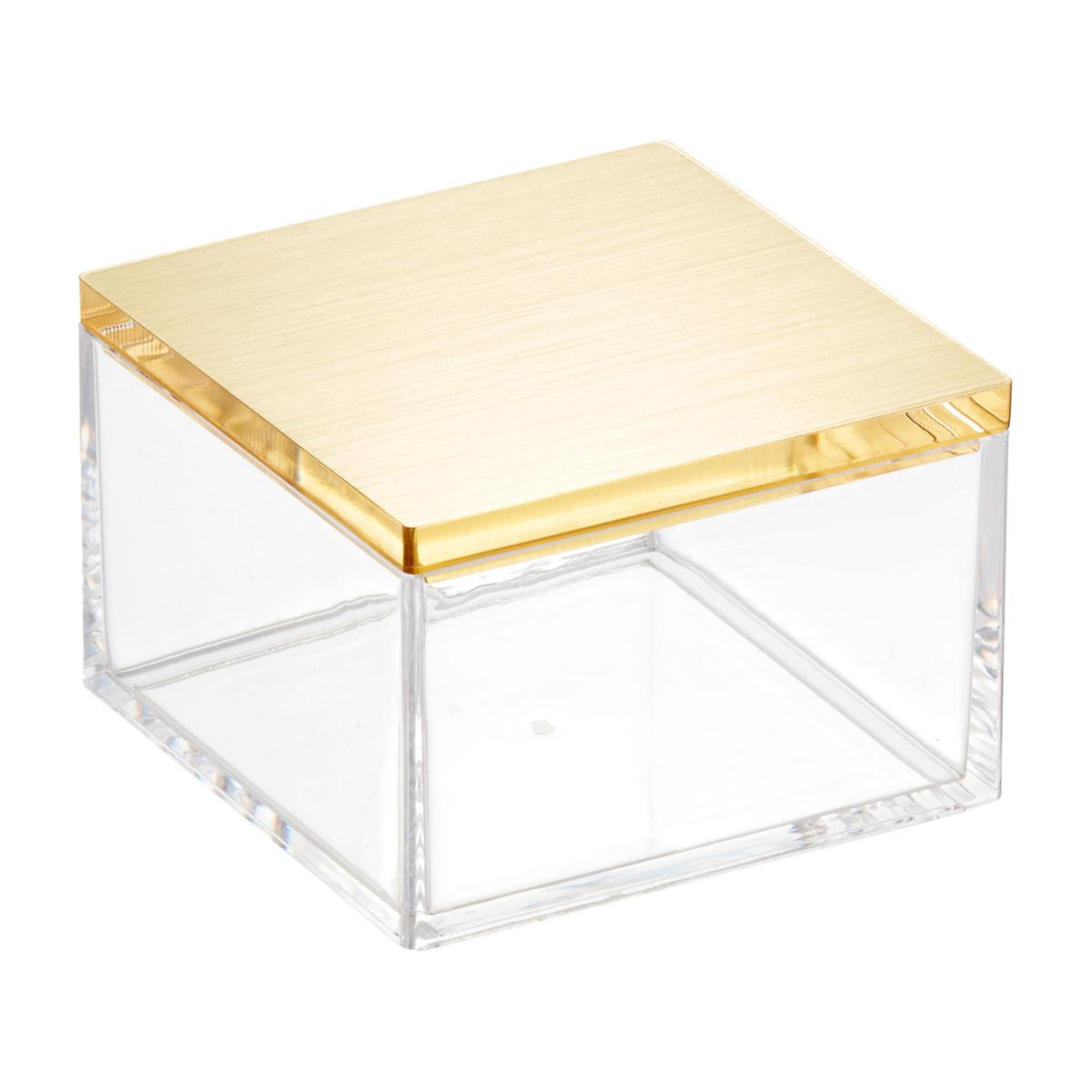 Clear Boxes With Brushed Gold Lids The Container Store