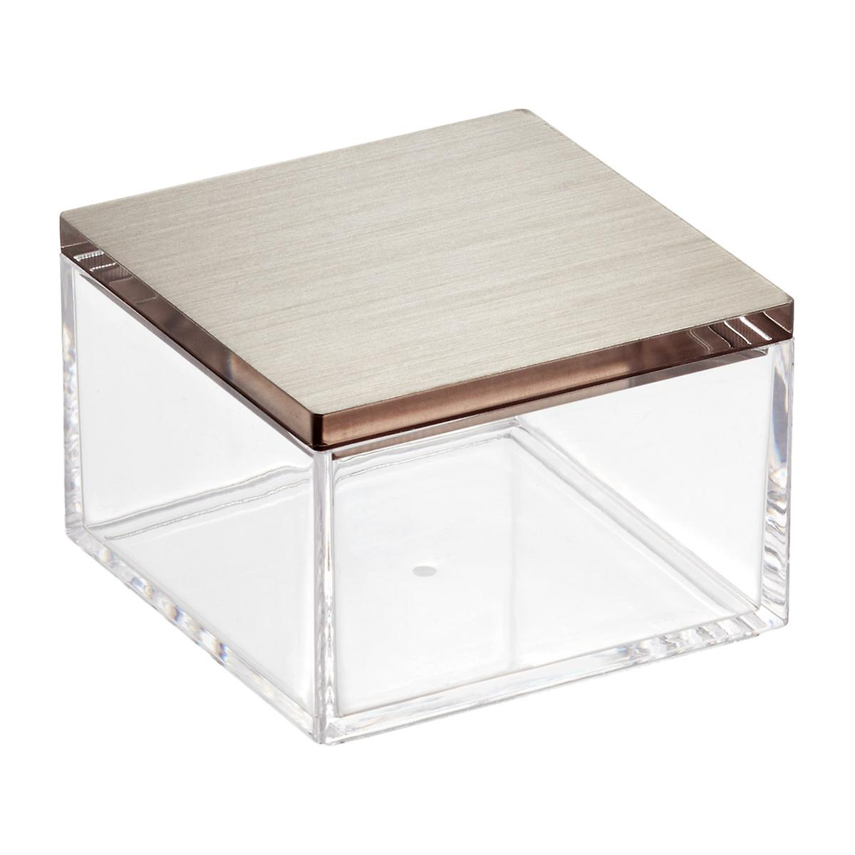 Clear Boxes With Brushed Nickel Lids The Container Store