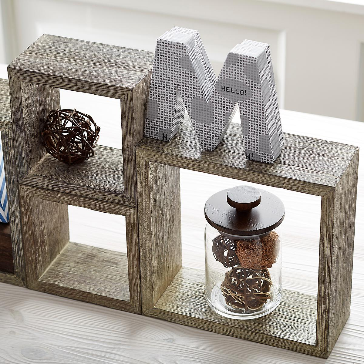 Space in the kitchen by adding shelves and glass canisters with seals - Roll Over To Zoom