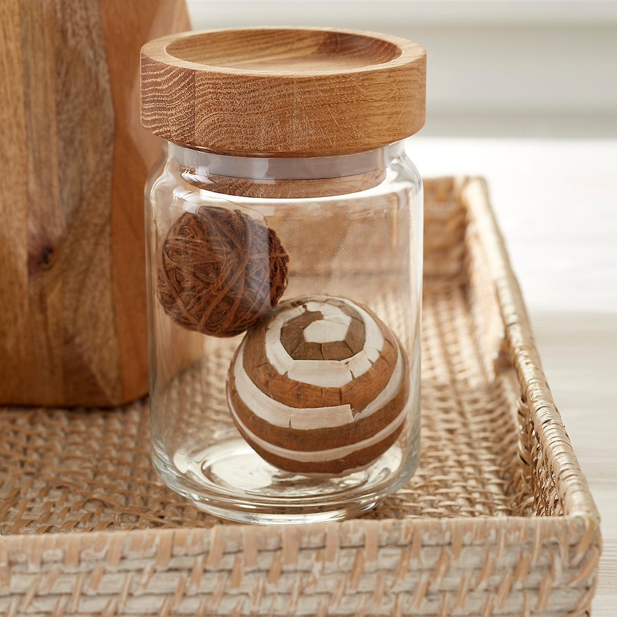 artisan glass canisters with oak lids the container store artisan glass canisters with oak lids