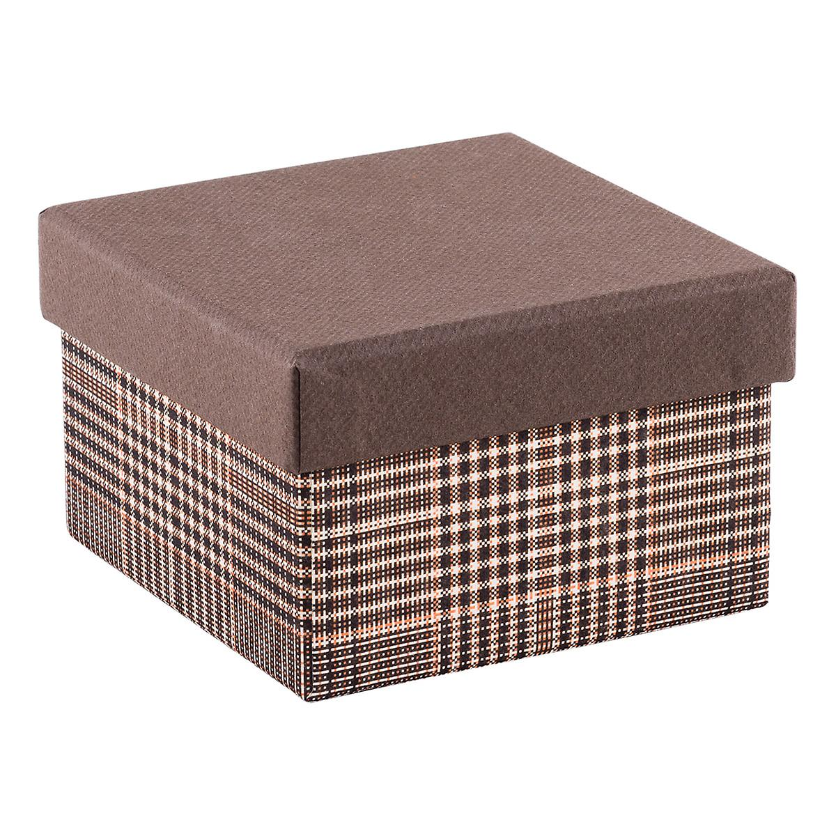 Square Tweed Box With Brown Lid The Container Store