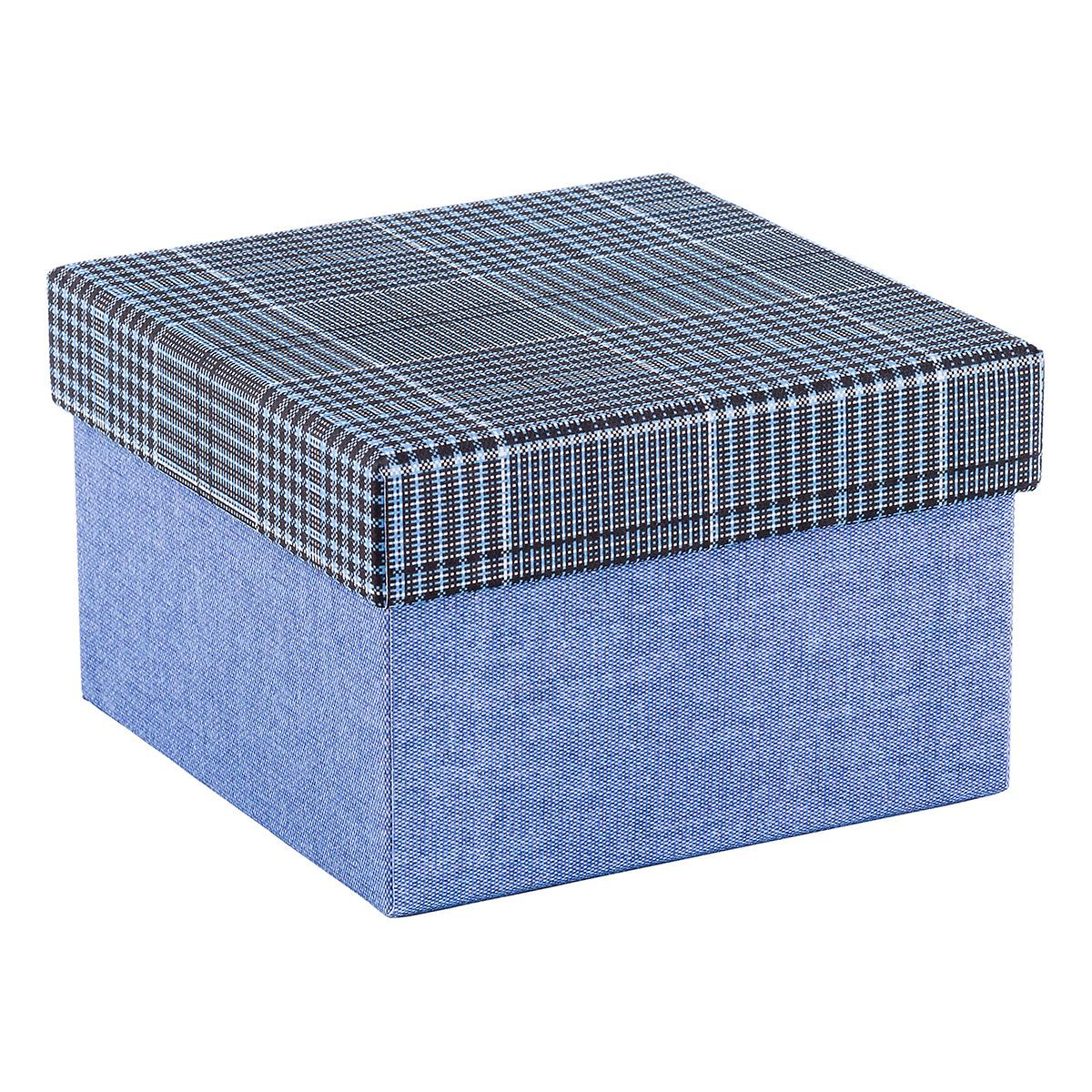 Square Blue Box With Plaid Lid The Container Store