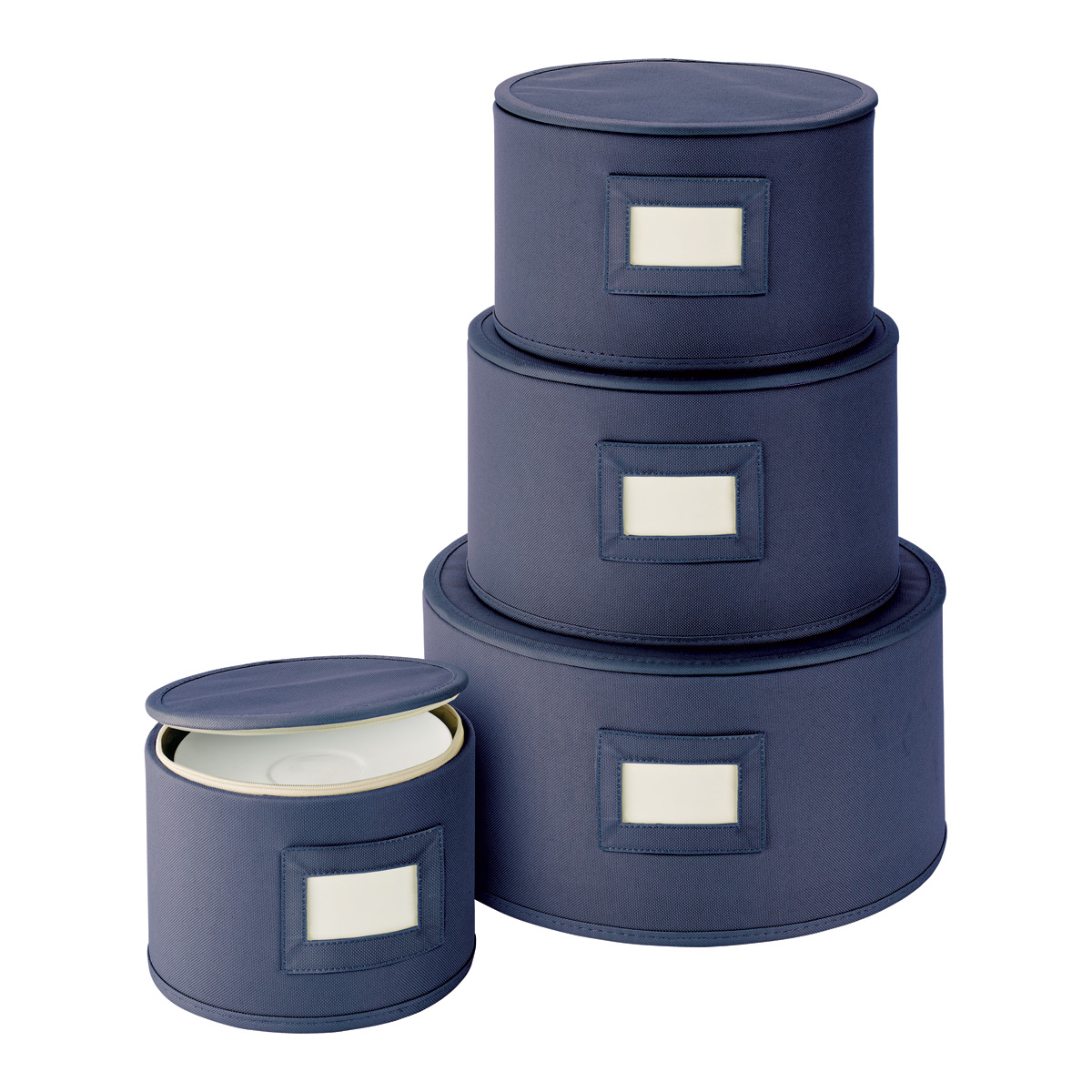 Ordinaire Blue Round Plate Storage Cases