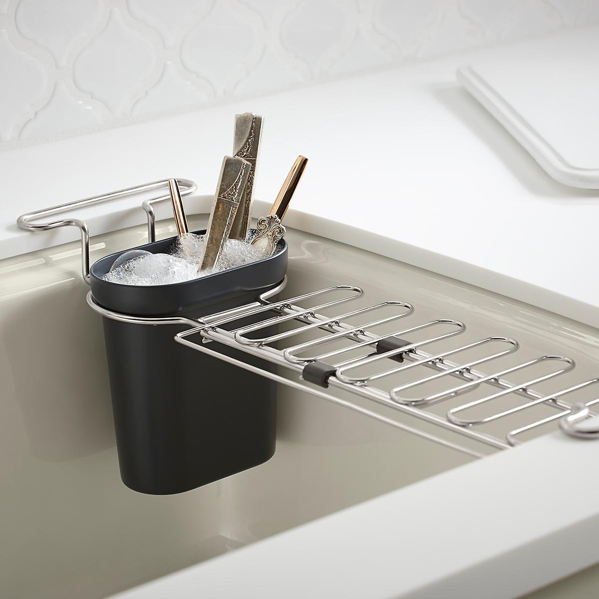 kohler chrome kitchen sink utility rack | the container store