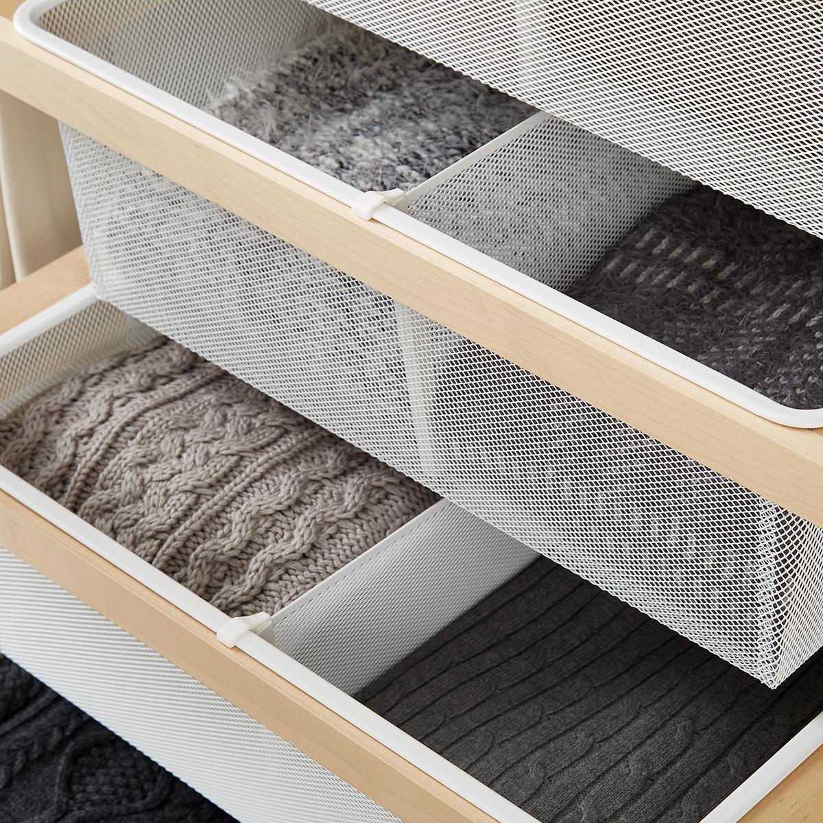 white elfa mesh drawer dividers