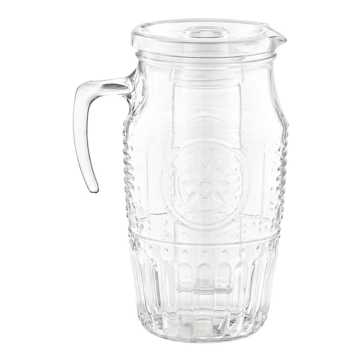 qt romantic glass carafe with lid  the container store - romantic glass carafe with lid