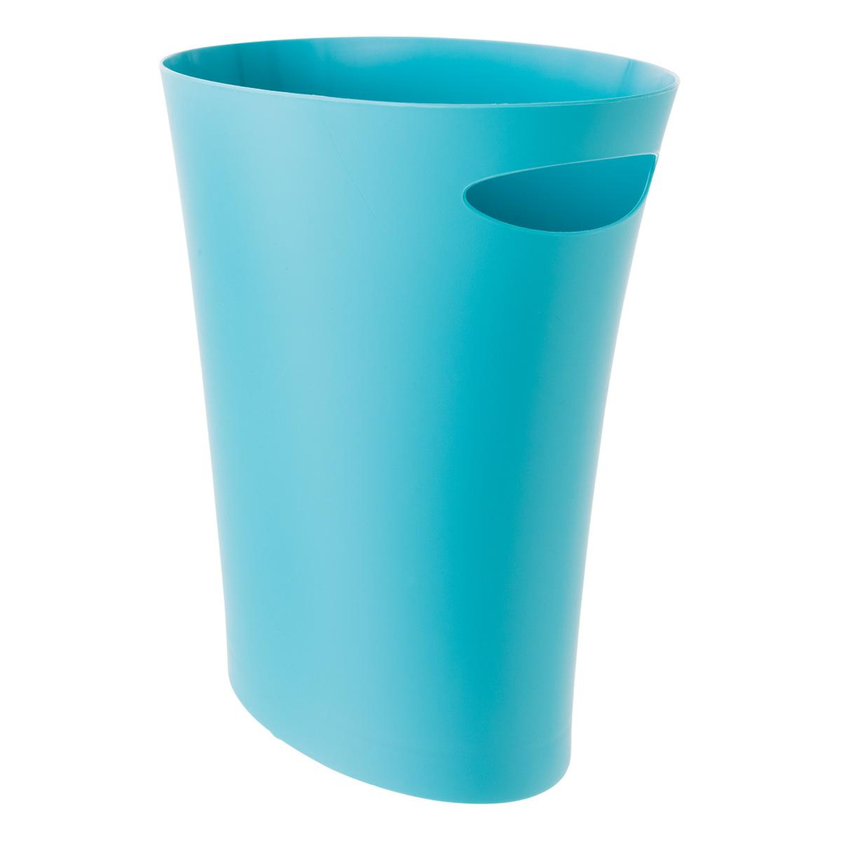 Umbra Blue Skinny Trash Can | The Container Store