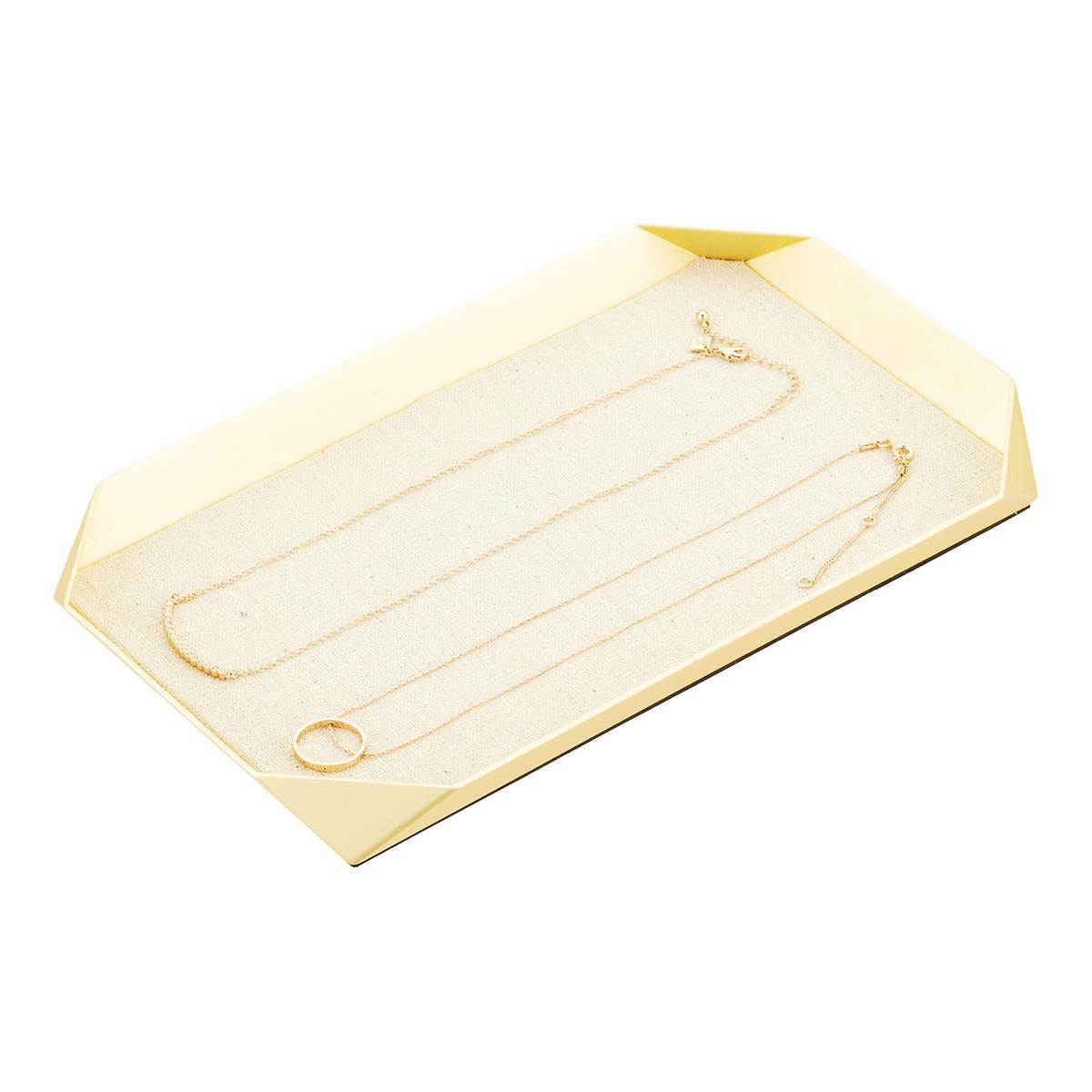 umbra gold jewelry tray with linen base the