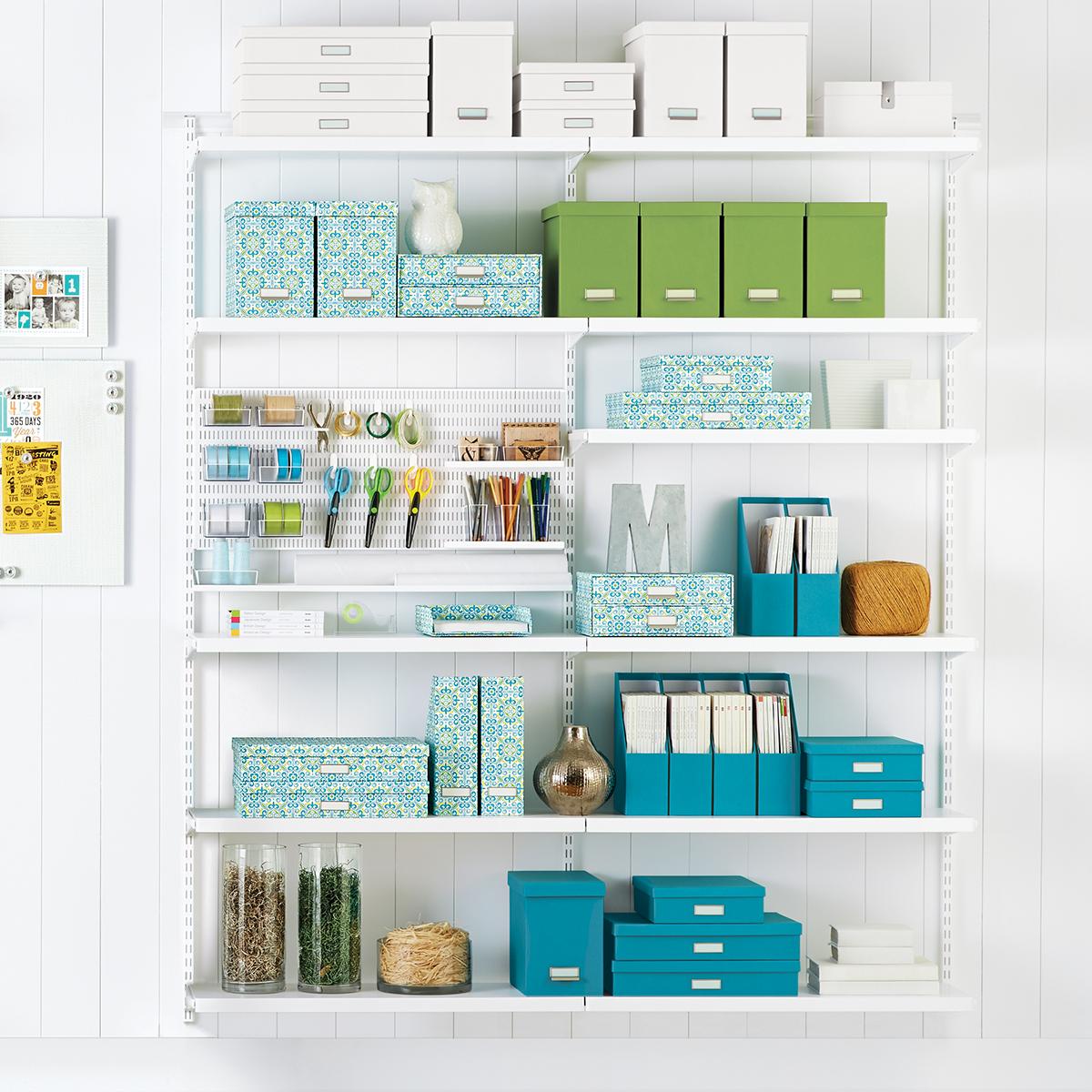 White Elfa Decor Craft Room Shelving
