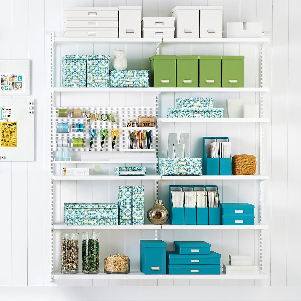 White Elfa Craft Room Shelving | The Container Store