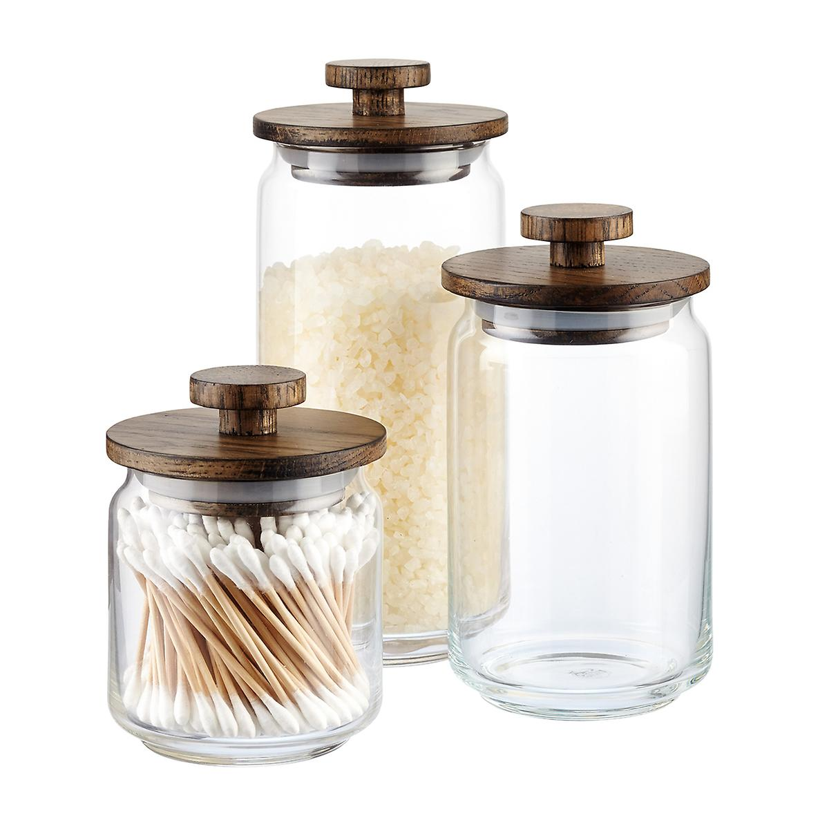 artisan glass canisters with walnut lids the container store artisan glass canisters with walnut lids