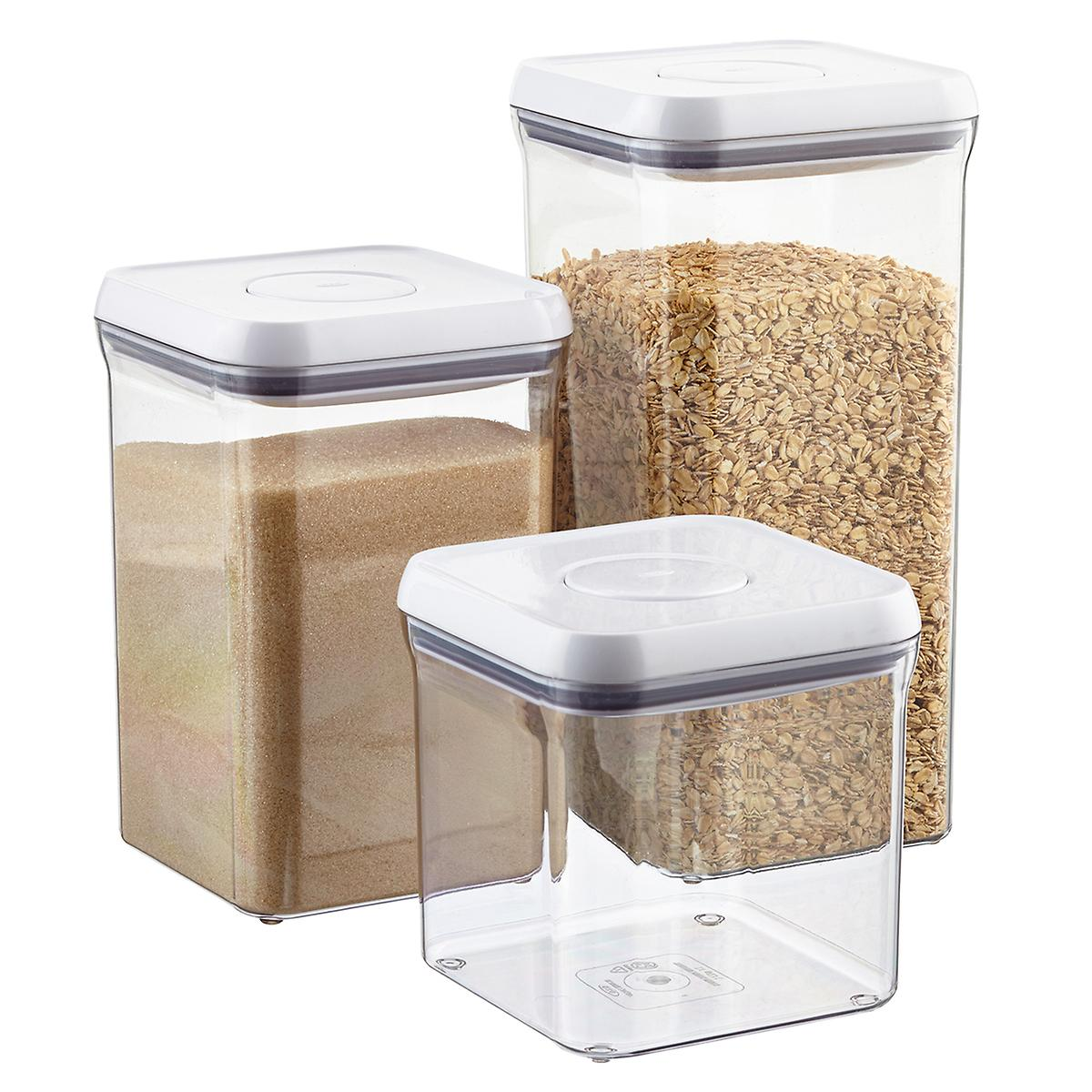 Space in the kitchen by adding shelves and glass canisters with seals - Good Grips 6 Square Pop Canisters