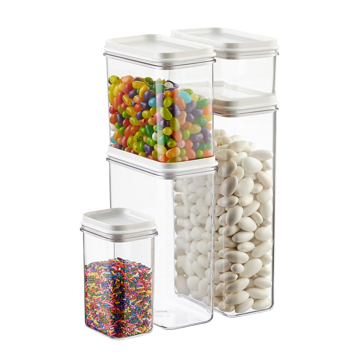 narrow stackable canisters with white lids the container store narrow stackable canisters with white lids