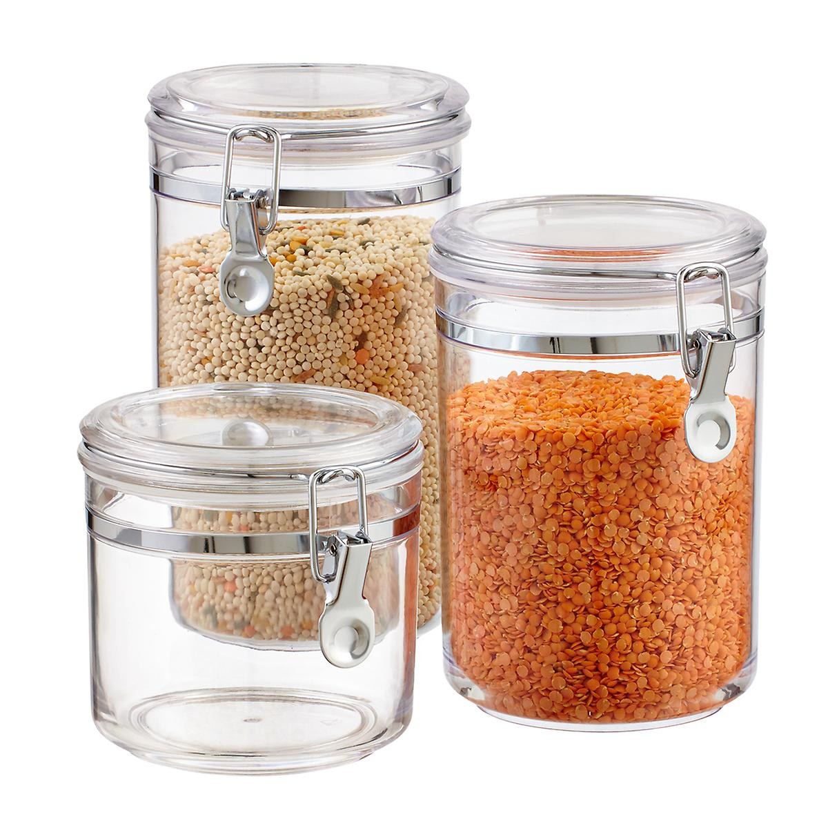 Space in the kitchen by adding shelves and glass canisters with seals - Hermetic Acrylic Canisters