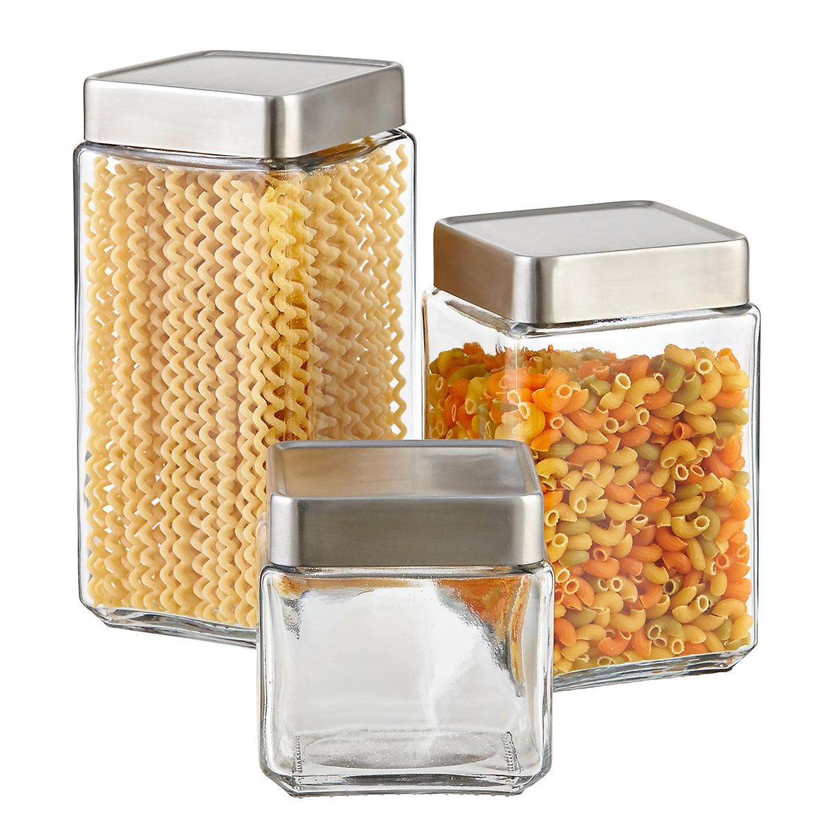 Glass & Brushed Aluminum Canisters ...