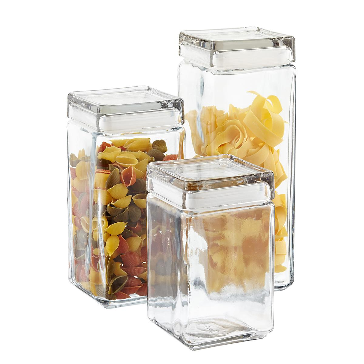 Space in the kitchen by adding shelves and glass canisters with seals - Stackable Square Glass Canisters