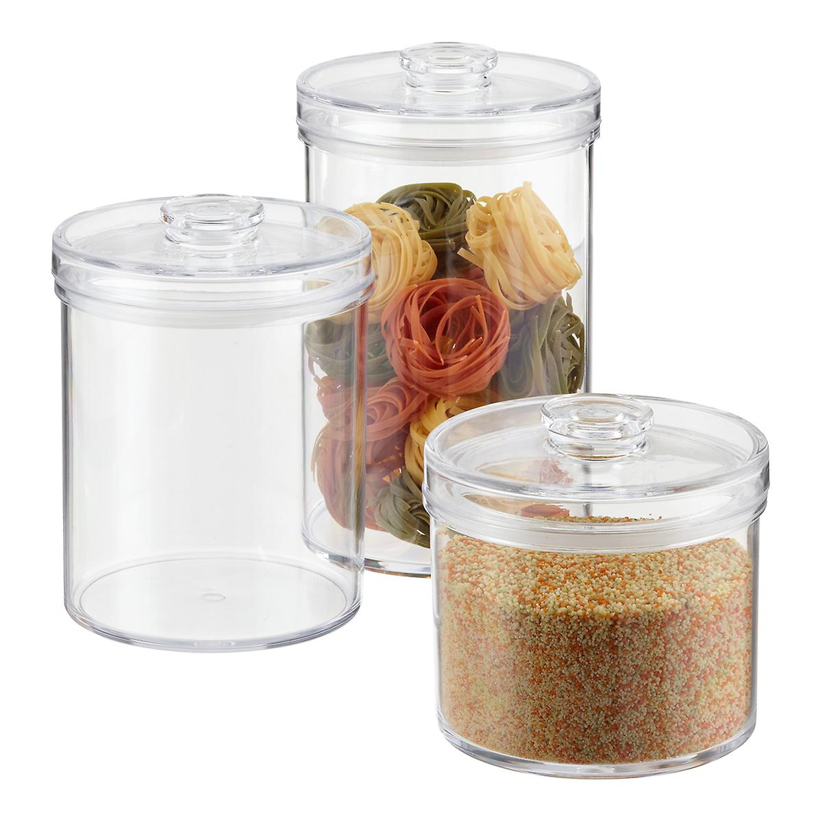 Clear Round Acrylic Canisters on clear stools for kitchen, spray paint a tray for kitchen, acrylic canister sets kitchen, clear canisters with lids, canister sets for kitchen, clear plastic kitchen canisters, clear canisters in food,