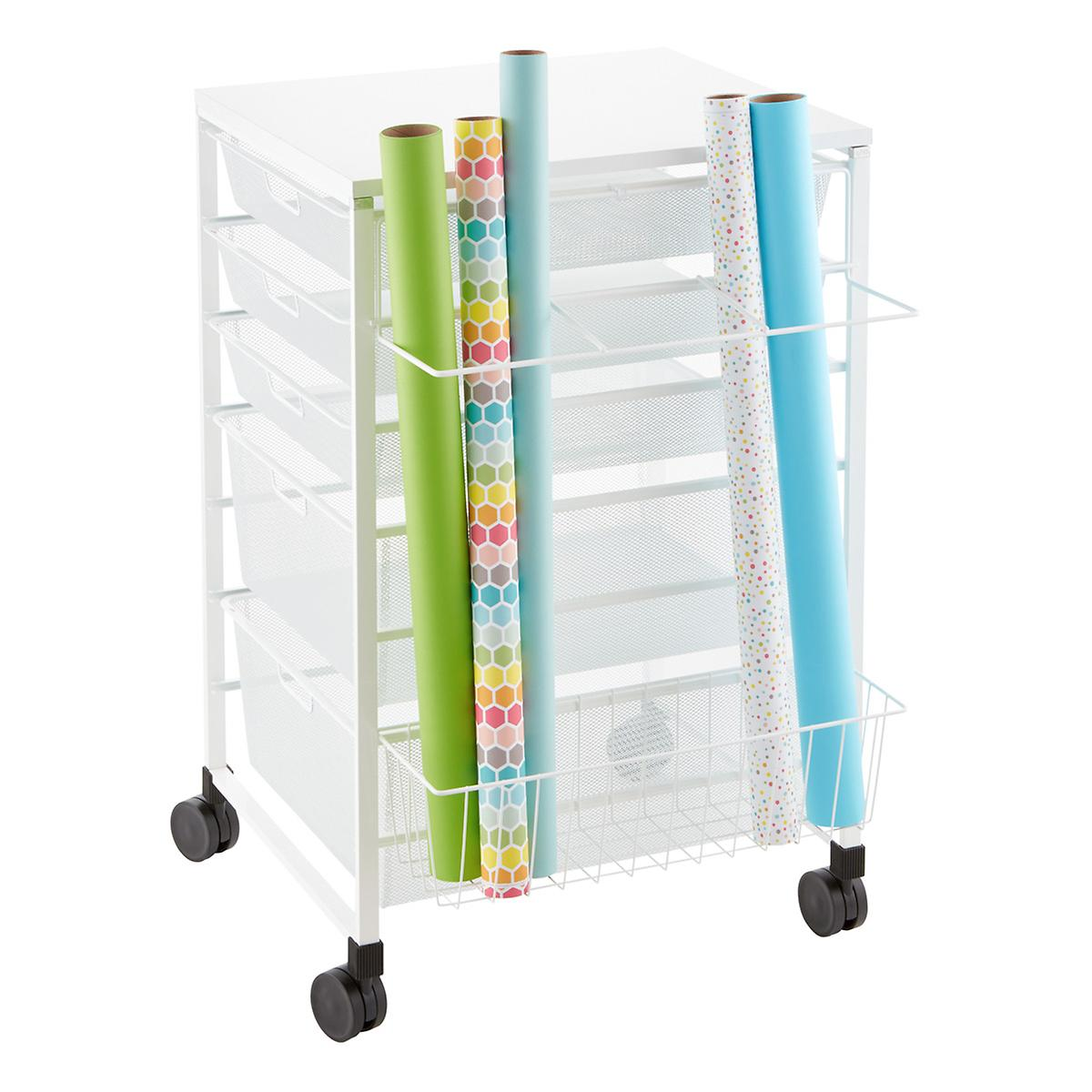 White elfa Gift Wrap Organizer The Container Store