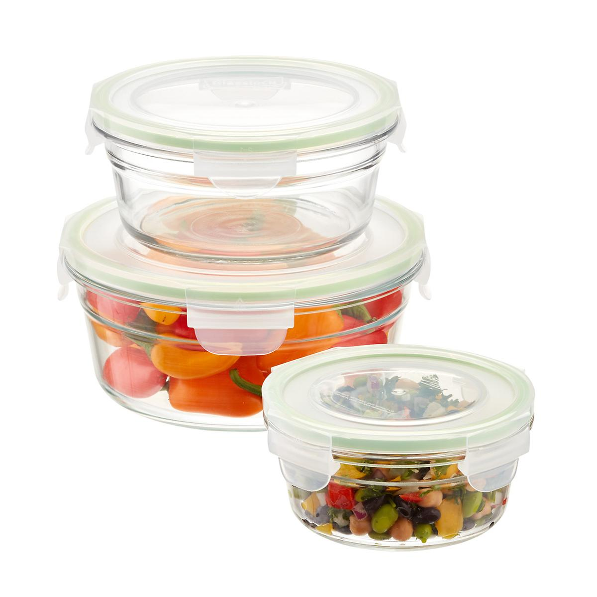 Glasslock Round Food Containers with Lids ...