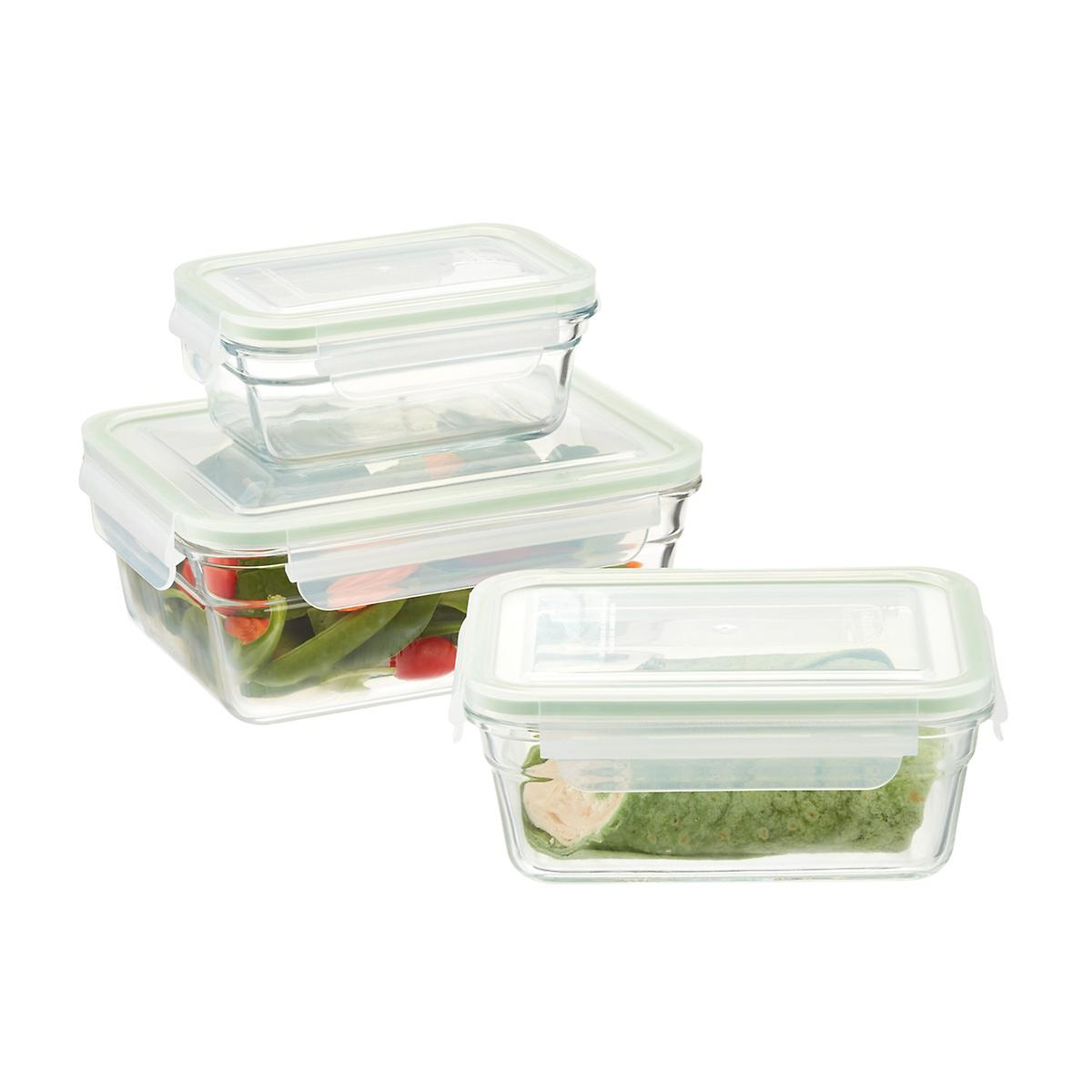 Glasslock Rectangular Food Containers with Lids ...