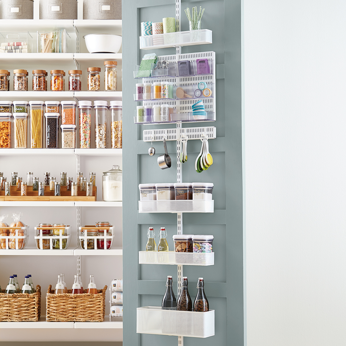 elfa utility White Mesh Pantry Door u0026 Wall Rack ...  sc 1 st  The Container Store : door shelving - pezcame.com