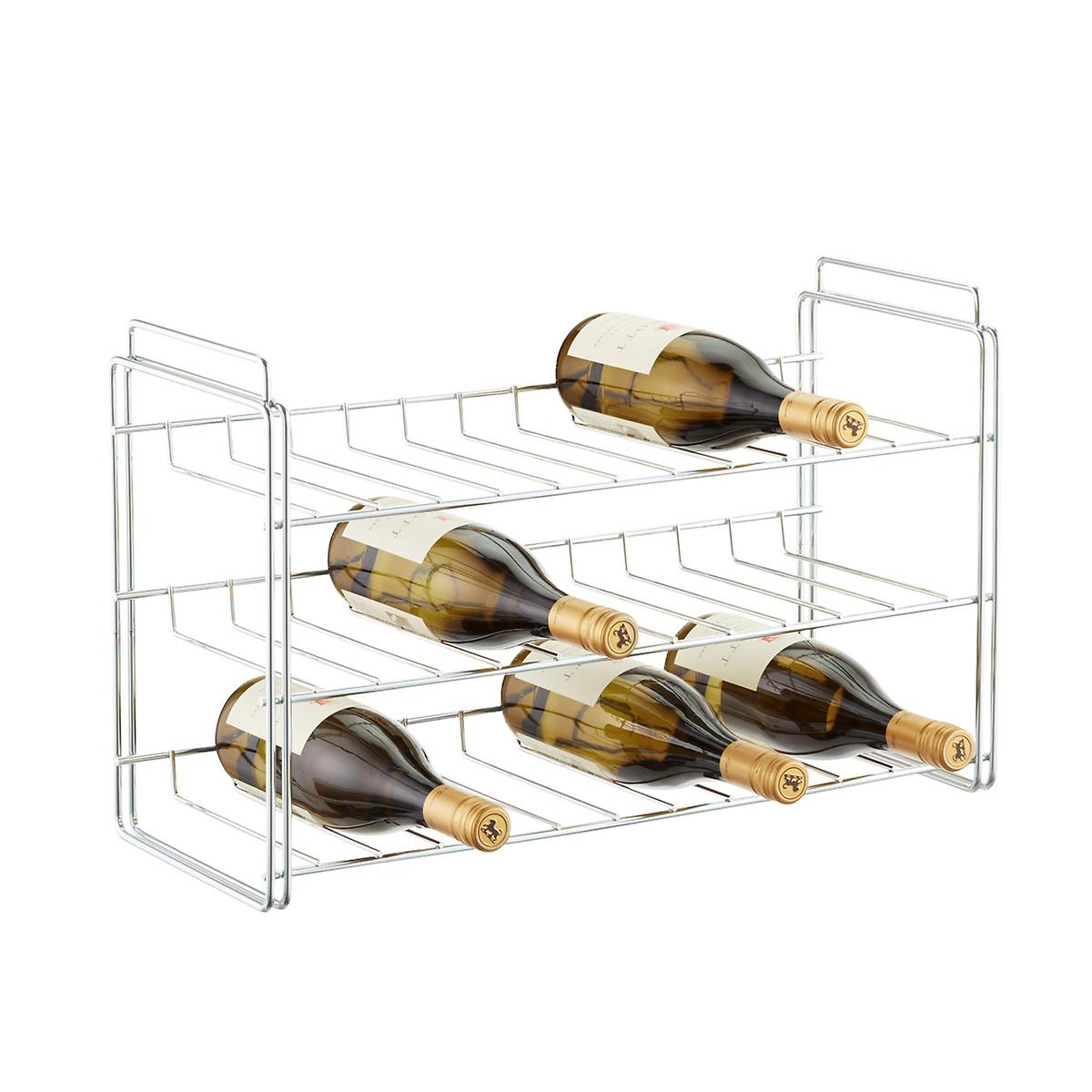 chrome bottle stackable wine rack  the container store - chrome bottle stackable wine rack